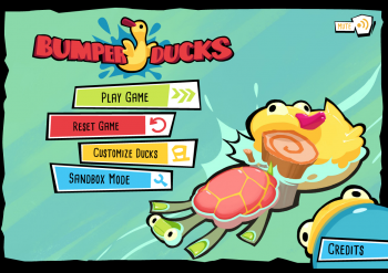 Title screen of the educational physical science game, BumperDucks