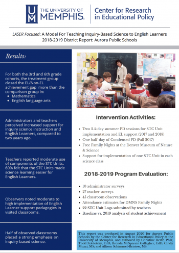 LASER Focused: A Model for Teaching Inquiry-Based Science to English Learners - 2018-2019 District Report: Aurora Public Schools