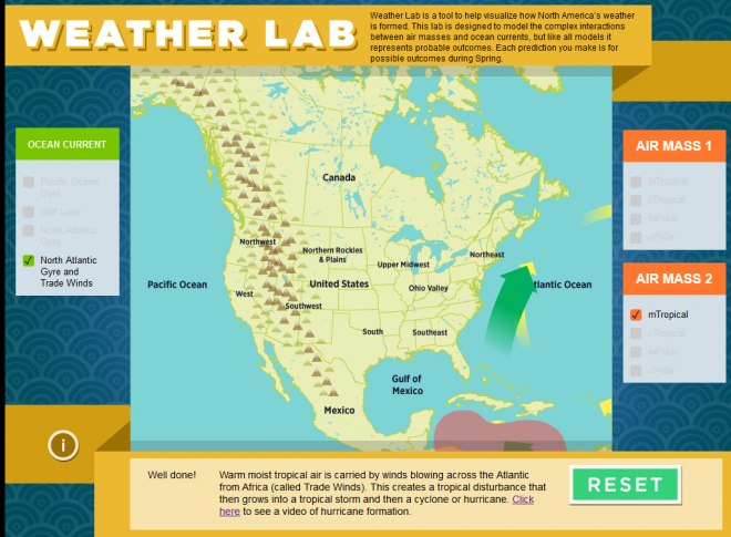 Screenshot of the educational earth science app, Weather Lab